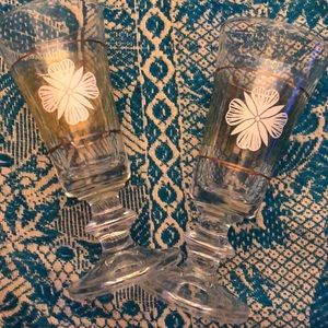 Vintage Set of 2 Cordial Bar Glasses- Iridescent